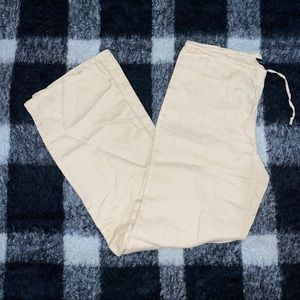 Vtg 90s cream tan linen flowy pants xs